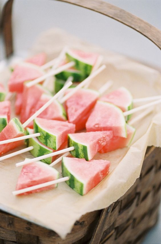 Put it on a stick: http://www.stylemepretty.com/living/2015/06/29/party-food-and-diys-for-your-fourth-of-july-bash/: