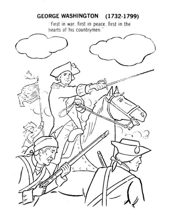 Revoltionary War George Washington and his men Coloring