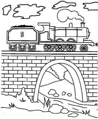 Steam train James engine coloring page for kids to print