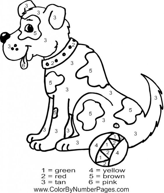 Online Dog Animal Color By Number Free Coloring Page
