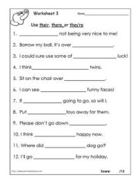 Their, there or theyre? Worksheets | Language Arts ...
