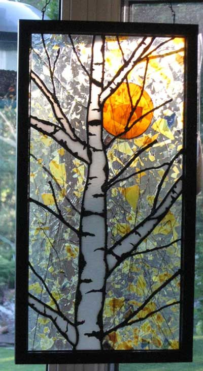 """Birch and Sun"" by Stained Glass Artist"