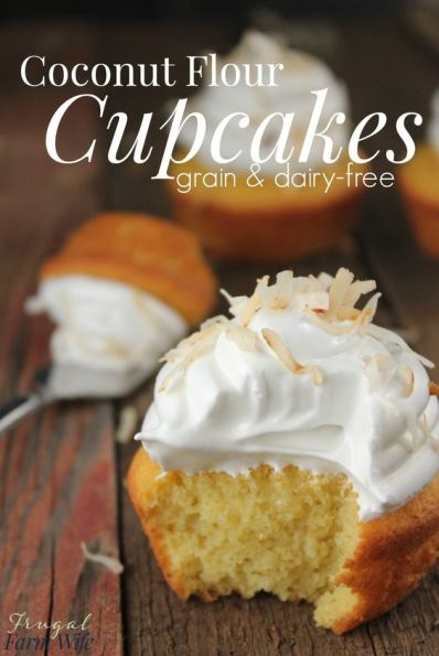 These coconut flour cupcakes are completely grain-free, and SO yummy! Top them with a little whipped cream or meringue, and they're perfect!: