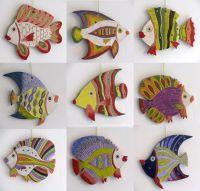 Handmade Ceramic Fish Decorative wall hanging/ Rainbow ...