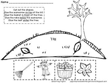 Fall Positional Words Worksheet Common Core K.G.1, K.P.1.1