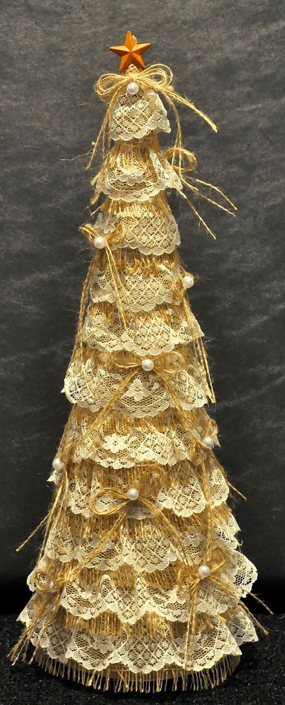 Shabby Chic Christmas Tree On Recycled Wine Bottle Base Cardboard Cone Covered With Burlap And