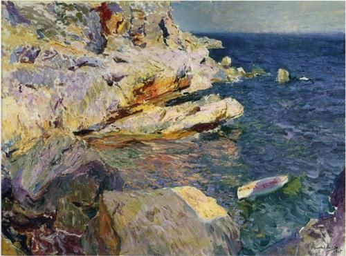 Rocks and white boat, Javea - Joaquin Sorolla: