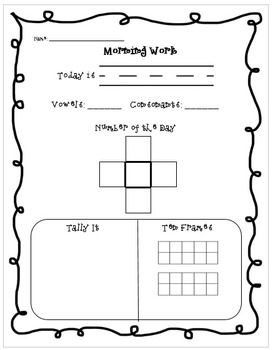 FREE morning work for 1st or 2nd grade. Six different