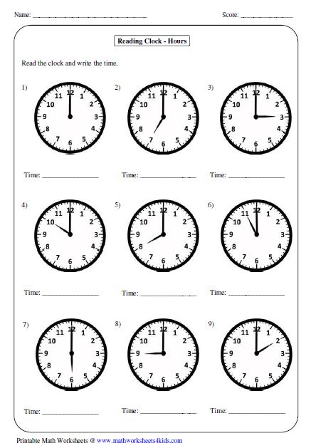 Great worksheets for telling time perfect for years 1-5