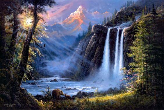 beautiful waterfalls painting