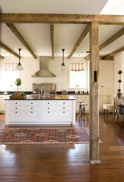 Cabinets Islands And Exposed Beams On Pinterest