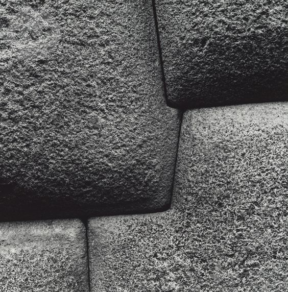 Aaron Siskind, Sacsayhuaman, Cusco Wall 24, 1975... You can't even wedge a coin between these stones! Amazing, unique example of ancient architecture.