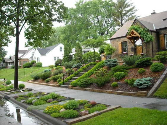 landscaping sloped front yard