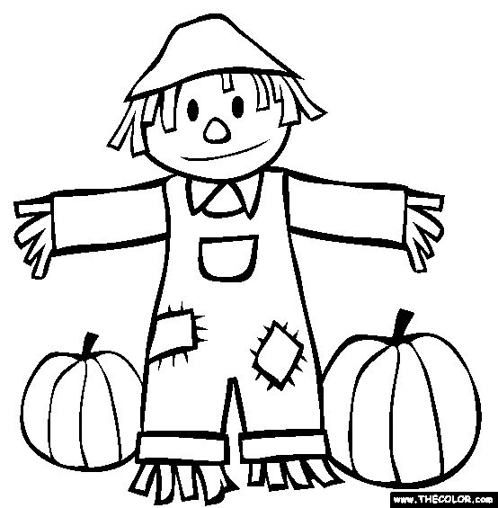 fall scarecrow and pumpkins coloring