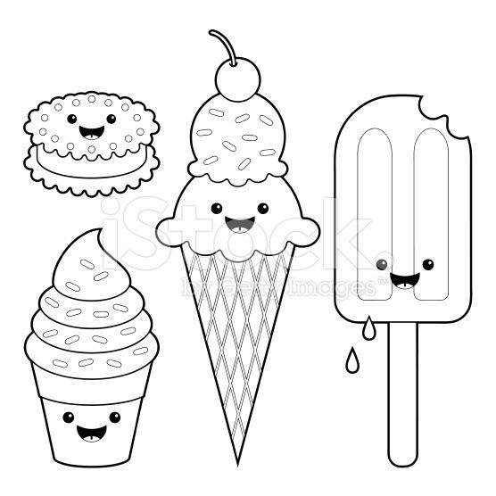 Ice cream fun kawaii coloring set royalty-free stock