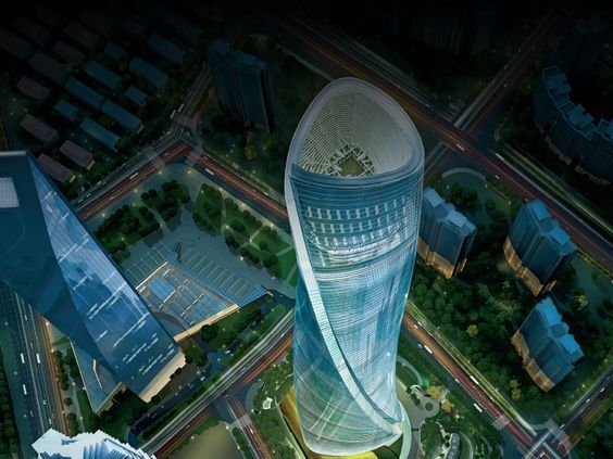 The render of Shanghai Tower that seen from the above