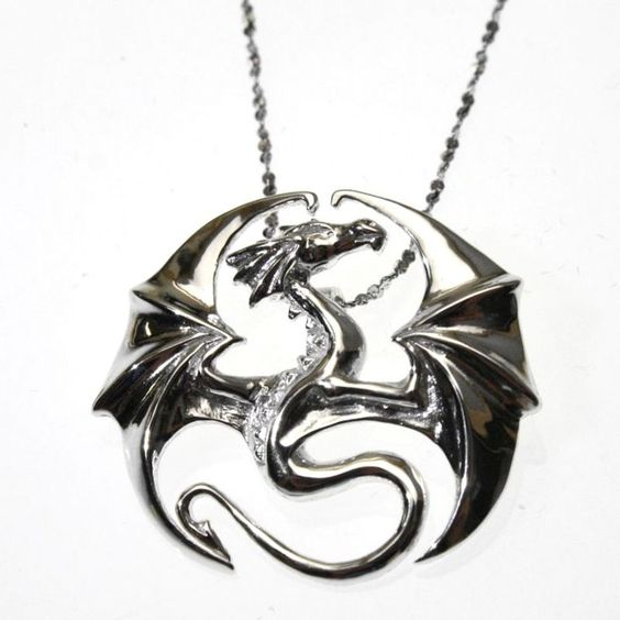 Draco Dragon Sterling Silver 925 Pendant Necklace Anne