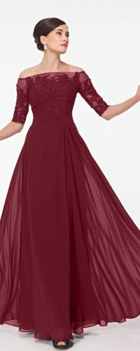 Burgundy Modest Lace Prom Dresses with Sleeves | Sleeve ...