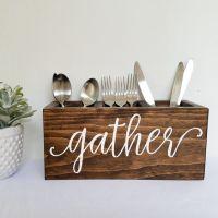 Wooden gather silverware caddy, wood silverware holder ...
