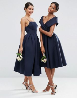 Image 3 of ASOS WEDDING Scuba Off The Shoulder Midi Prom Dress: