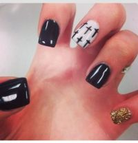 Nail Designs with crosses #Black # Gold | Nail Designs ...
