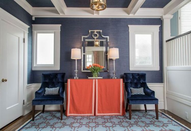 Front Hall table: Kravet 26246, David Hicks York Castle Blue, Horchow Pagoda Mirror, Langham / Madeline Weinrib - inspired rug, Phillip Jeffries Navy Grasscloth 5274 Manila Hemp| California Home + Design: