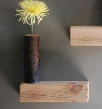 Floating wood block shelves via The Haystack Needle