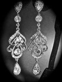 Long crystal earrings ~Chandelier earrings, Brides ...
