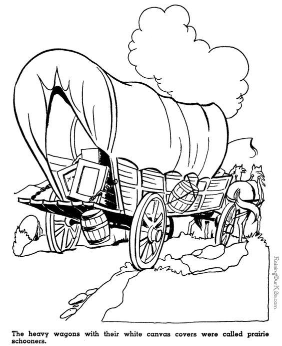 Kid coloring pages of Prairie schooners #westwardho #