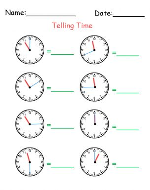 How to Tell Time Printable Worksheets. Telling time has
