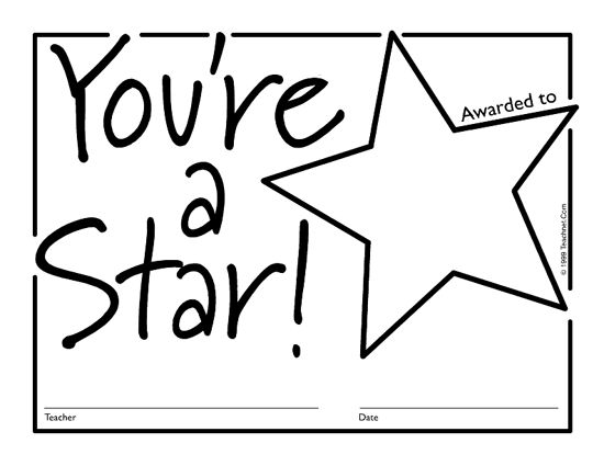 Printable certificates, Star template and Classroom