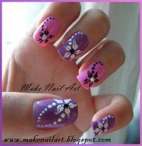 Hawaiian Flower Nail Art | Nail Art Design Short French ...