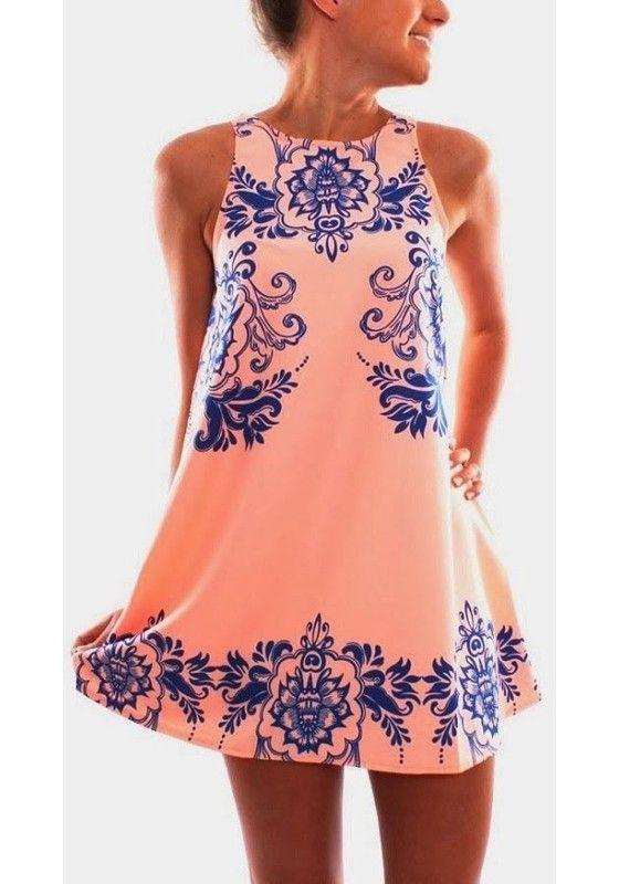 Pink Flowers Print Round Neck Sleeveless Chiffon Dress - Mini Dresses - Dresses: