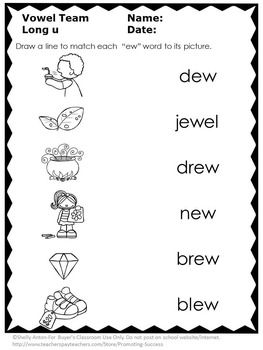 Phonics Worksheets Long Vowels u Teams { ew, ui, ue } ESL