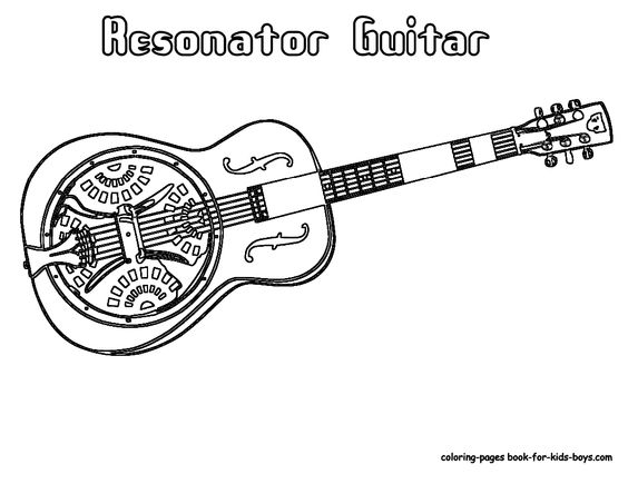 Resonator guitar, Guitar and Coloring pages on Pinterest