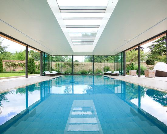 Indoor Swimming Pool Design Ideas Equipped With White