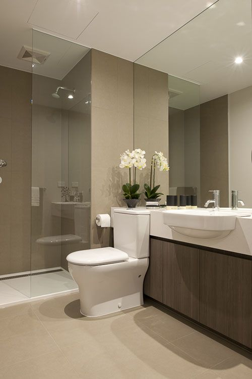 Beautiful modern bathroom, neutral, interesting countertop