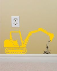 Vinyl Wall Decal Construction Backhoe Silhouette perfect ...