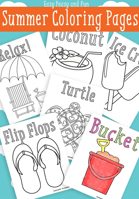 Summer Coloring Pages {Free Printables} via Easy Peasy and Fun