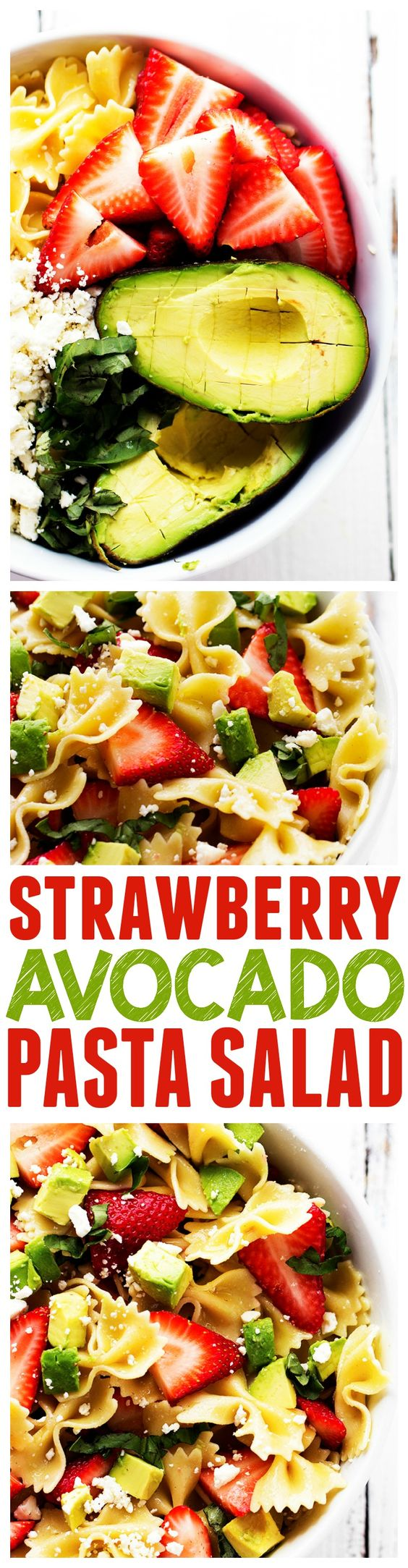 Strawberry Avocado Pasta Salad Recipe via The Recipe Critic - This Strawberry Avocado Pasta Salads is one unforgettable salad!!! Strawberries, Avocados, Basil and Feta Cheese come together to create the BEST pasta salad!! Easy Pasta Salad Recipes - The BEST Yummy Barbecue Side Dishes, Potluck Favorites and Summer Dinner Party Crowd Pleasers