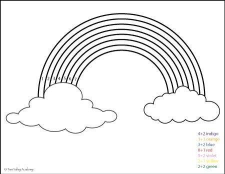 Free Math Printable. Color the answer rainbow coloring