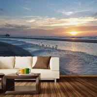 Paul Moore's Sunset Seagull Beach Mural wall decal | Beach ...
