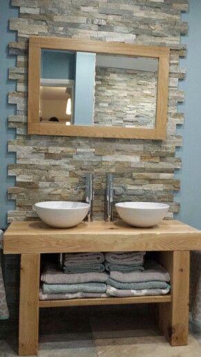 Hand Built Oak Sleeper Bathroom Furniture Split Face