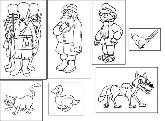 Peter and the Wolf flashcards for matching the characters