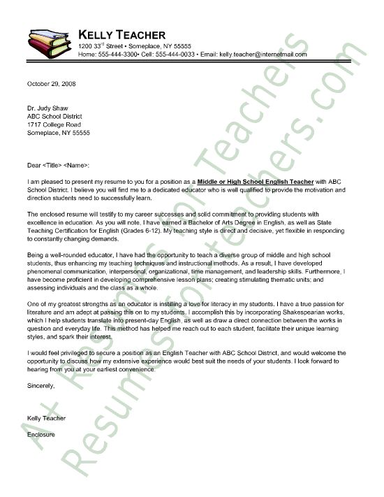 English Teacher Cover Letter Sample  Principal resume  Pinterest  English Letter sample and