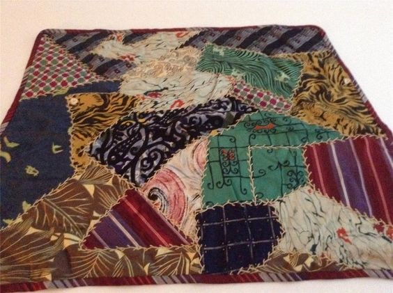 Vintage Crazy Quilt Table Runner, Made from Men's Ties