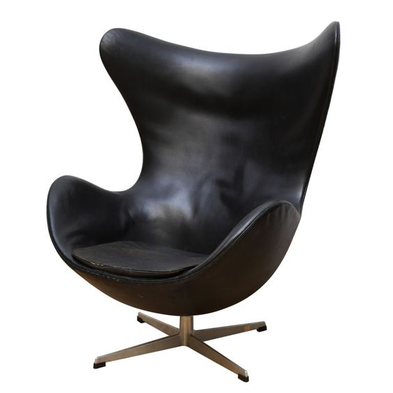 Vintage Egg Chair in Original Black leather by Arne