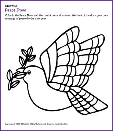 Color the Dove and Write Your Message of Peace (Christmas