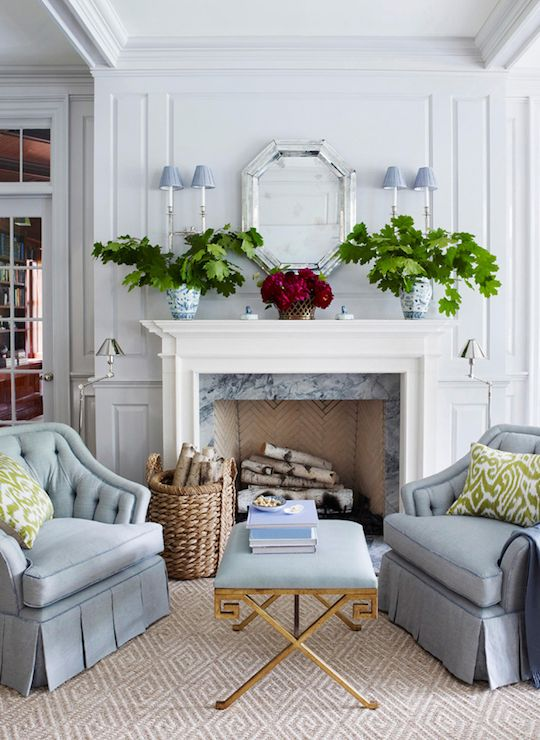Ashley Whittaker Design - living rooms - wainscoting, millwork, fireplace, marble surround, white fireplace, traditional style fireplace, fi...: