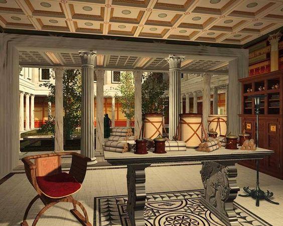 Ricostruzione virtuale di uno degli ambienti della Villa dei Papiri di Ercolano: